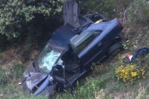 Una salida de vía en la N-120 entre Valdeorras y el Bierzo deja al menos un herido